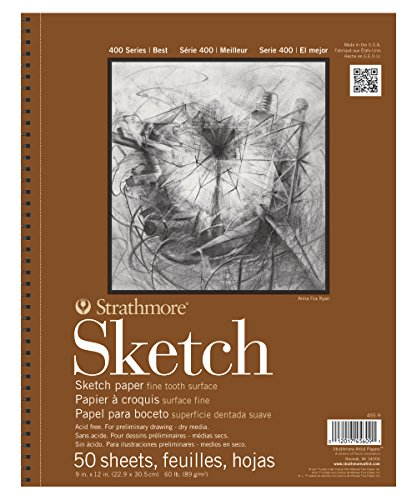 "Strathmore 455-9 400 Series Sketch Pad, 9""x12"" Wire Bound, 50 Sheets"