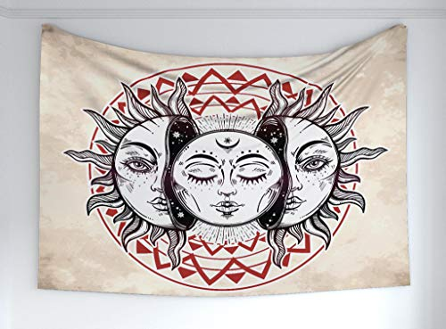 - Ambesonne Moon Tapestry, Oriental Eastern Culture Elements Abstract Style Heavenly Bodies Tattoo Style, Fabric Wall Hanging Decor Bedroom Living Room Dorm, 60 W X 40 L Inches, Tan Black Ruby
