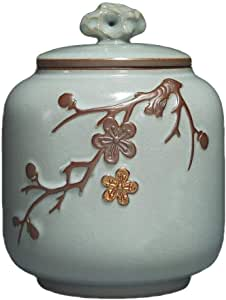 RMXMY Flower Funeral Urn Memorials - Cremation Urn for Human Ashes - Hand Made in Brass - Suitable for Cemetery Burial or Niche - Large Size fits Remains (Size : 14.5 * 20cm)