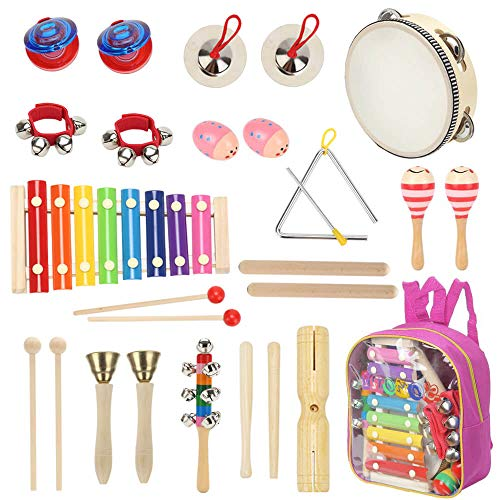 Sokoni Toy Wooden Kids Percussion Educational Musical Instrument Set for Children Preschool Toddlers with Xylophone Triangle Tambourine for Kids - Storage Backpack and Activity eBook BONUS (PINK)