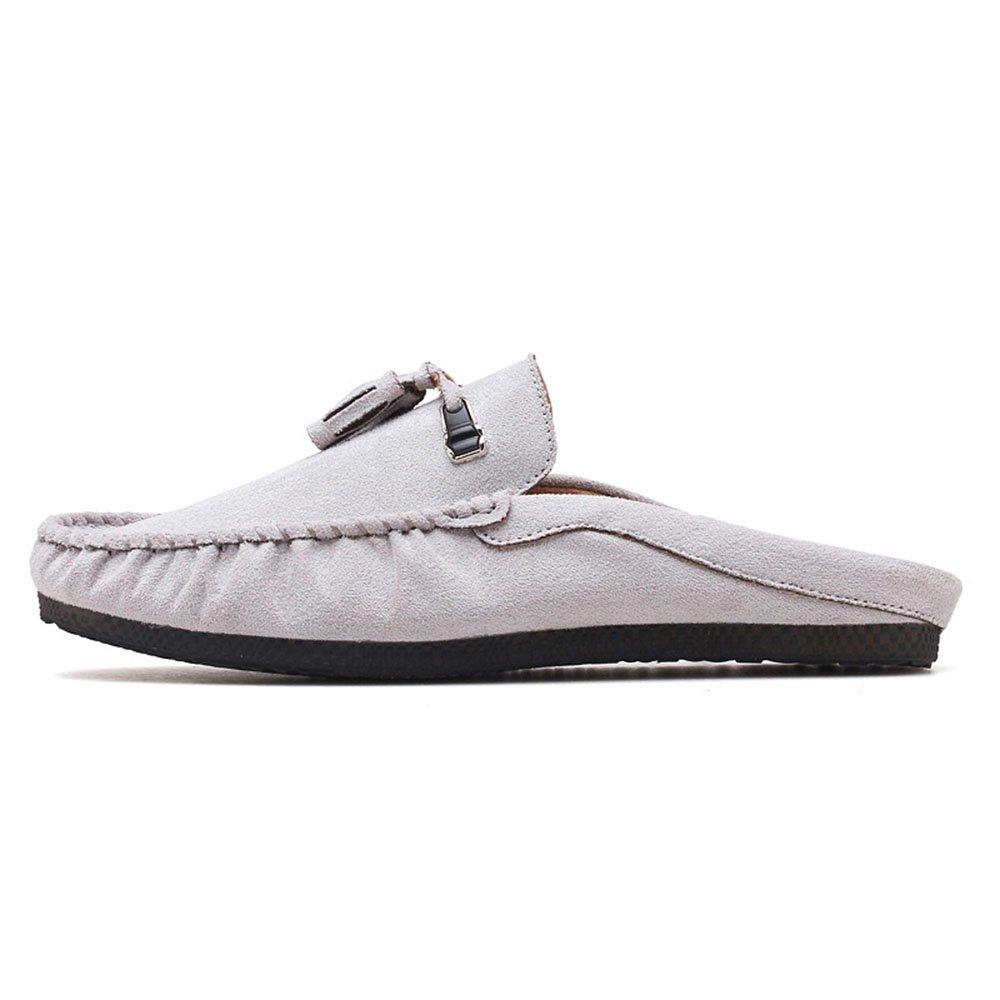Zapatillas de Cuero para Hombre Hollow out Mocasines Casual Zapatos de Interior 42 EU|Gris