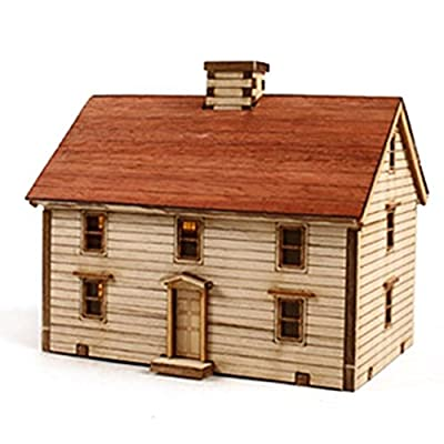 Young Modeler HO Serises Desktop Wooden Model Kit Western Farmhouse YM623: Toys & Games