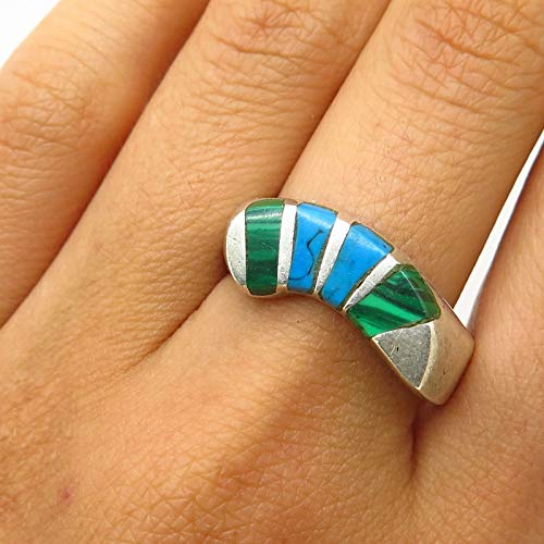 VTG Mexico 925 Sterling Silver Malachite & Turquoise Inlay Mens Ring Size 11 Jewelry by Wholesale Charms