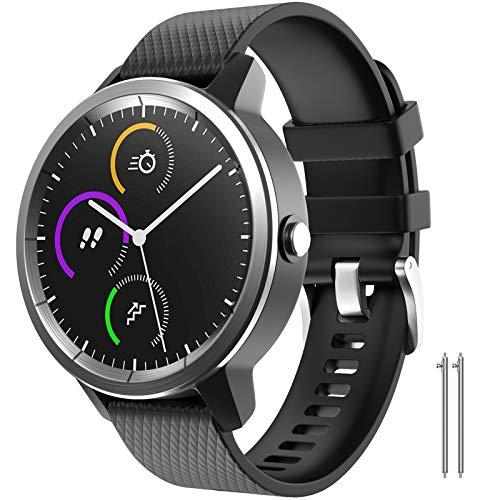 NotoCity for Garmin Vivoactive 3 Band, 20mm Quick Release Silicone Replacement Band for Garmin Vivoactive 3/Galaxy Active 2 40/44mm/Samsung Gear Sport/Galaxy Watch 42mm/Garmin Venu(Black,L)