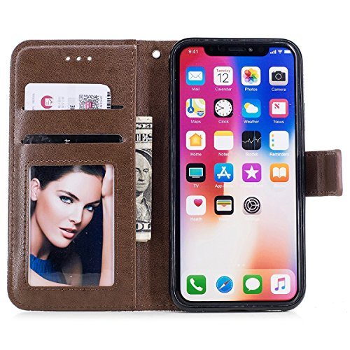 Funda iPhone X, WE LOVE CASE Piel y Tipo Cartera Carcasa Funda Flor iPhone X con Tapa Flip Wallet caso de Cuero Billetera Original Funda Que Se Pega con Ranura Para Tarjeta Card Holder y Stand Cierre  Brown