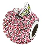 Charm Central Pink Apple Rhinestone Charm for Charm Bracelet