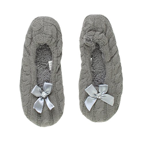 Ajvani Womens Ladies Elastic Slip on Fleece Winter Heart gem Bow Slippers Socks Size Grey Knitted 0UEYog