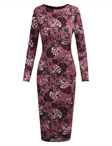 Long Sleeve Printed Tunic Dress (A.F.Y All For You Women's Crew Neck Long Sleeve Bodycon Midi Tunic Dress Printed Mauve 61039 X-Large)