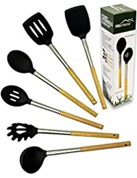 CheckOut +Gourmet+ 6 Pcs Eco-Friendly Bamboo Stainless Steel Silicone Kitchen Utensil Set Premium Non-Stick Silicone Cooking... deal