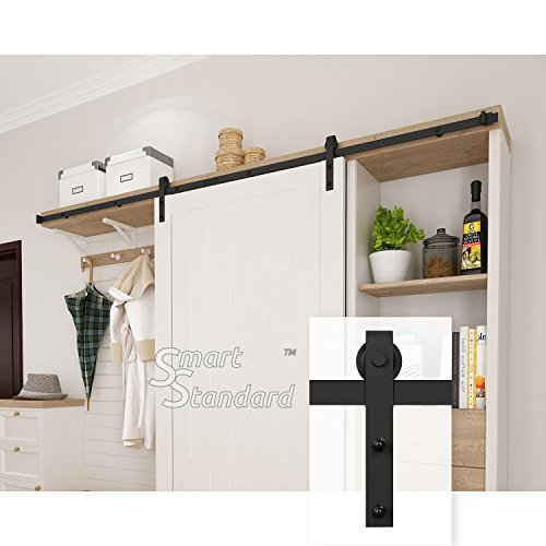 8ft Cabinet Barn Door Hardware Kit- Mini Sliding Door Hardware - for Cabinet TV Stand Wardrobe - Simple and Easy to Install - Fit 48