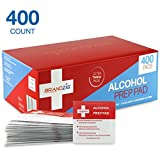 Brandzig Sterile Alcohol Prep Pads (400-Pack) | Thick 2-Ply Antiseptic/Sanitizing Isopropyl Medical Wipes | Individually Wrapped Alcohol Cleansing Swabs for Antibacterial Protection, Diabetic Supplies