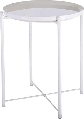 Ama-store Tray Metal End Table, Sofa Table Small Round Side Tables, Anti-Rust and Waterproof Outdoor Indoor Snack Table, Accent Coffee Table, 17.7 x 17.7×20.5 inches White