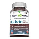 Amazing Nutrition Amazing Formulas Lutein 20 mg with Zeaxanthin 800 mcg- 240 Softgels- Supports Eye Health & Healthy Vision For Sale