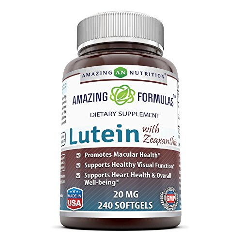 Amazing Nutrition Amazing Formulas Lutein 20 mg with Zeaxanthin 800 mcg- 240 Softgels- Supports Eye Health & Healthy Vision by Amazing Nutrition