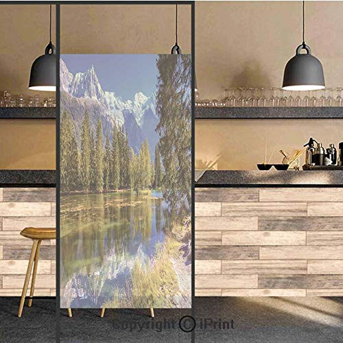 Glass Serenity Suncatcher - 3D Decorative Privacy Window Films,Snow Covered Alps Fir Trees in Lake Serenity in Natural Paradise,No-Glue Self Static Cling Glass Film for Home Bedroom Bathroom Kitchen Office 17.5x71 Inch