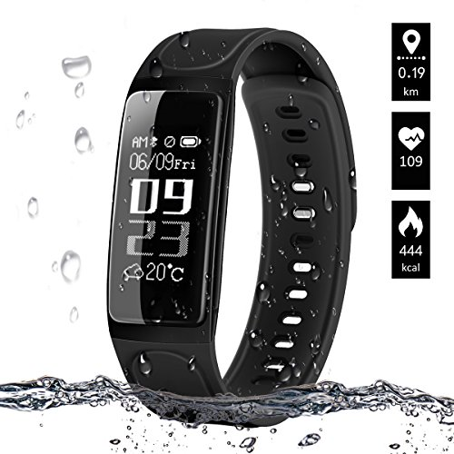 Fitness Tracker,ELEGIANT Waterproof Sport Activity Smart Bracelet GPS Pedometer with Step Tracker/Calorie Counter/Heart Rate Monitor/Sleep Monitor/Weather Report for iOS/Android - Low Life Wristbands
