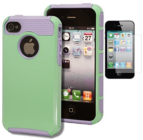 iPhone 4 Case, Bastex Heavy Duty Two Piece Hybrid Lavender Silicone Teal Green Case Cover for Apple Iphone 4, 4g, 4s 4gsINCLUDES SCREEN PROTECTOR