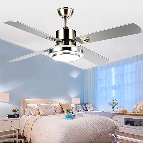 Modern Ceiling Fan With LED light 4 Wood Blades Remote Control For Indoor Living Room Bedroom 48 Inch,Tropicalfan