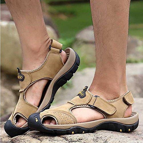 Zapatos Trekking Sandalias HGDR De Senderismo Khaki De Sandalias Calzado Hombres Libre Senderismo De Cuero Deportivas Al Aire Cerrados Verano Los De qqHT0