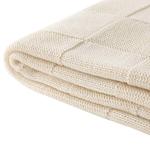 Vonty Cable Knit Blanket Soft Knitted Throw Couch Cover Blanket, Warm & Cozy for Couch Sofa Bed Beach Travel Use - Ivory White, 47