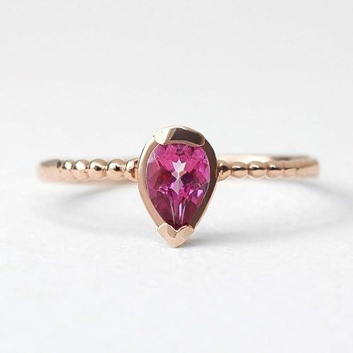 Anniversary Ring 925 Sterling Silver Ring Wedding Ring Tourmaline Ring Pear Tourmaline Cut Gemstone Ring Multi Color Tourmaline Ring