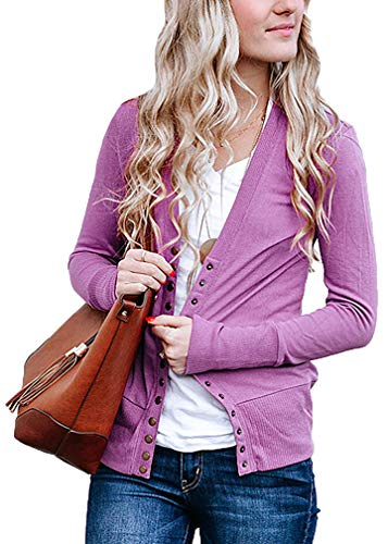 JNTOP Women's Women's V-Neck Long Sleeve Soft Basic Knit Snap Cardigan Mauve 3X-Large