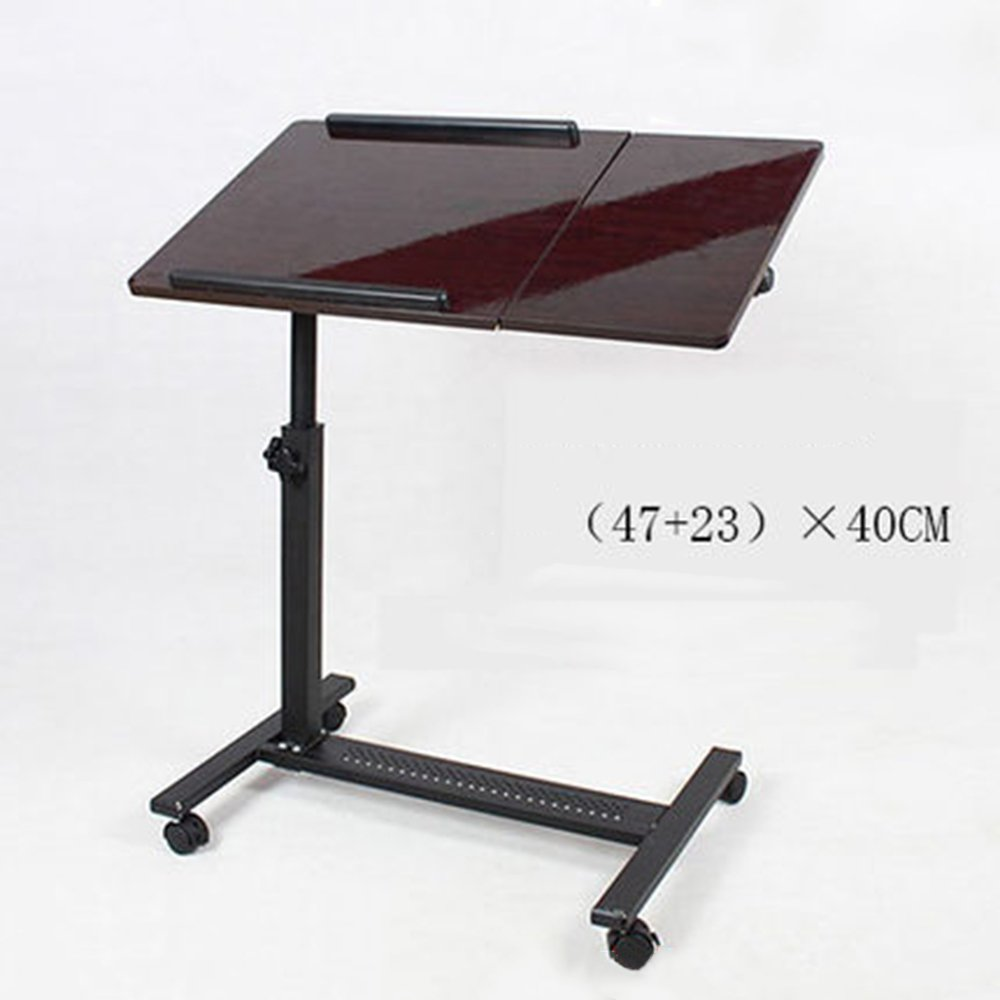 A Without fan NYDZ Removable Laptop Table Sofa Overbed Table Notebook Computer Stand Desk with Wheels,Adjustable Height (color   A, Size   Without Fan)