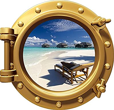 "12"" Port Scape Instant Sea Window View TROPICAL BEACH #1 BRONZE Porthole Wall Decal Sticker Graphic Mural Home Kids Game Room Office Art Decor NEW"