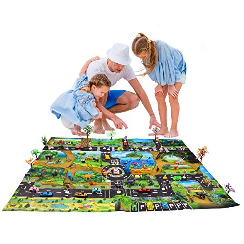 (Max Fun Dinosaur Toys Play Mat, 88 pcs Educational Toys of Dinosaurs Toys, Wild Animals, Marine Organisms, Trees, Road Signs, Cars and Walking Dinos with Moving Jaws for Kids Party)