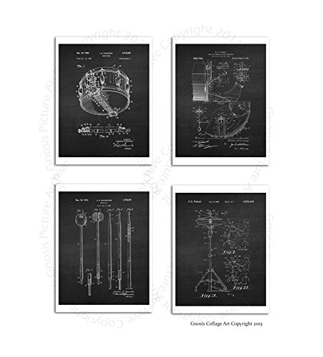 Drum Photo Poster (Vintage Drum Posters Set of 4 Unframed Patent Art Chalkboard Gift for Drummer 8x10