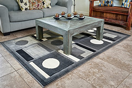 Cosy House Contemporary Area Rugs for Indoors | Persian Living Room Home Decor | Resists Stains, Soil, Fading & Freying | Power Loomed in Turkey, 5'2 x 7'2, Extacy Grey (Metro Dining Table)