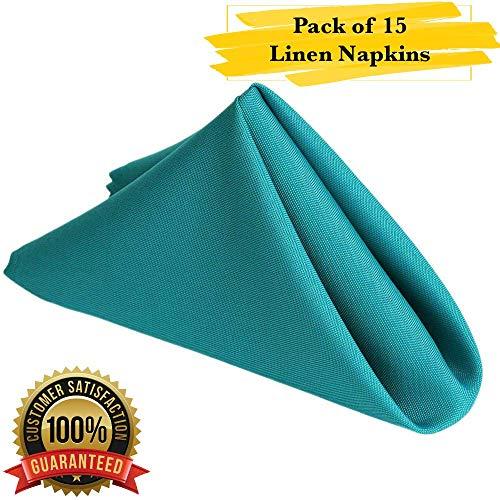 PrimeLyne Premium Polyester Dinner Napkins - 17x17 Stain and Wrinkle Resistant Linen Napkins with Hemmed Edges, Pack of 15 (Turquoise) (Napkin Turquoise)