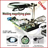 HBK Welding Magnifying Glass 5 LED Light 2.5X 7.5X 10X Lens Auxiliary Clip