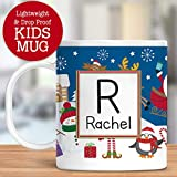 Kids Personalized Mug Christmas Snowman Santa Claus Elf Customize with Name and Initial Lightweight and Drop Proof | Dishwasher Safe Child Toddler Unbreakable Cup BPA Free