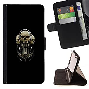 DEVIL CASE - FOR Samsung Galaxy S3 Mini I8190Samsung Galaxy S3 Mini I8190 - Tri Skull - Style PU Leather Case Wallet Flip Stand Flap Closure Cover