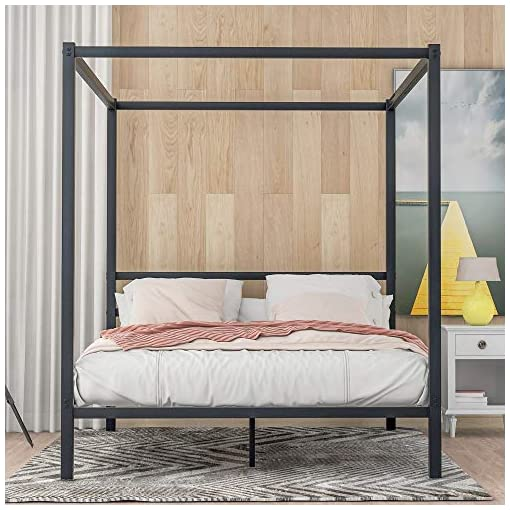 Bedroom Canopy Bed,Modern Metal Frame Canopy Platform Bed with 4 Post, Built-in Headboard,No Box Spring Needed, Classic Design… modern beds and bed frames