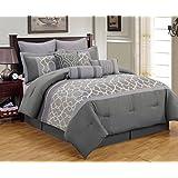 9 Piece Queen Aisha Gray Comforter Set
