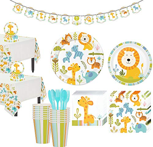 Party City Happy Jungle Lion Premium Baby Shower Tableware Kit for 16 Guests, Includes Table Centerpiece and Banner -