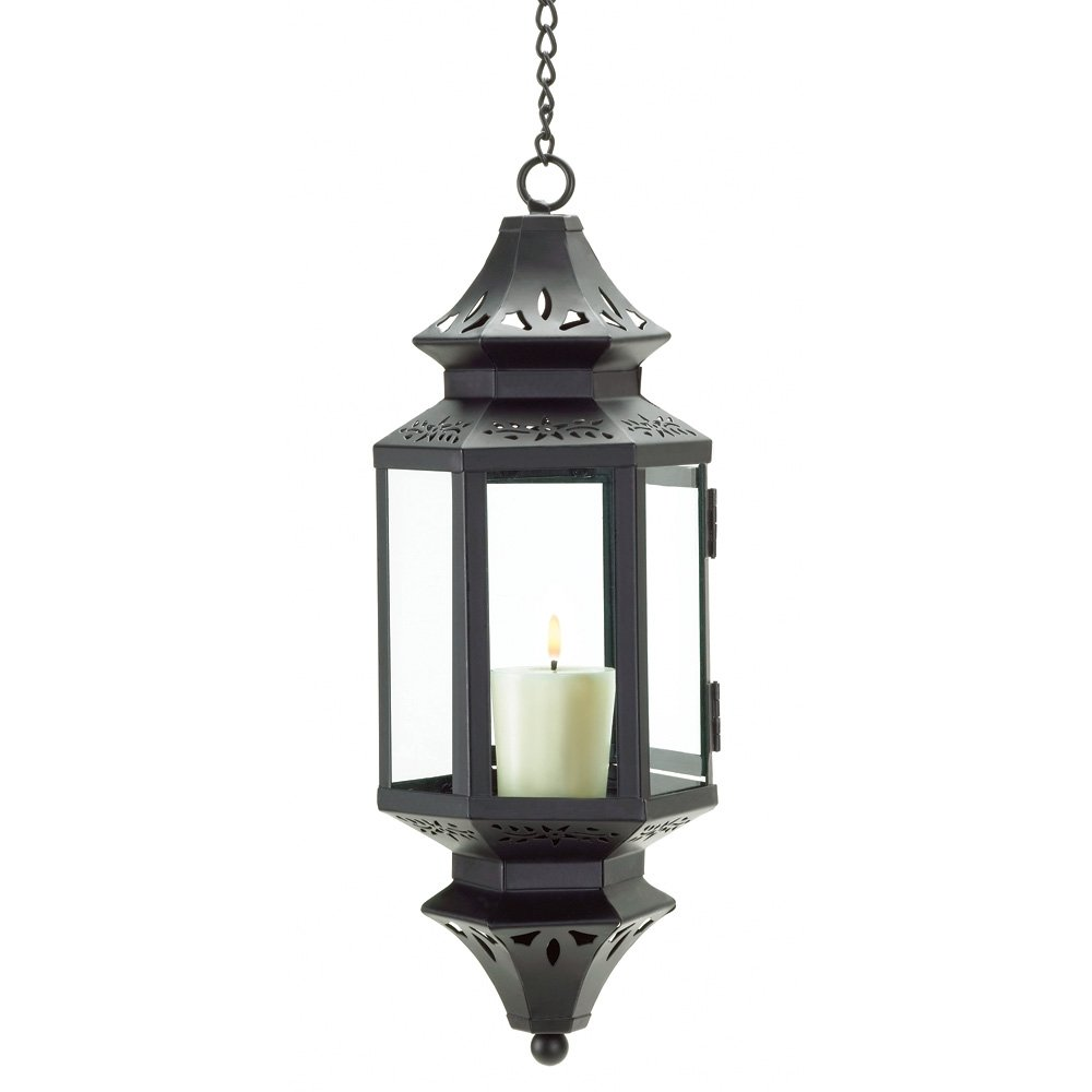 amazoncom gifts u0026 decor hanging moroccan lantern glass outdoor home u0026 kitchen - Outdoor Candle Lanterns