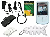 Premium Accessories Combo Bundle Pack: Clear Durable Flexible Soft Silicone Skin Case, Car Charger, Wall / Travel / AC Adapter Charger, 2in1 Sync USB Cable, Adjustable Armband, Belt Clip, Fishbone Style Keychain and a Screen Protector / Guard with a Lint
