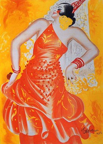 Spain Dance Costume (COSTUMES SPANISH SPAIN GIRL DANCER DANCE SMALL VINTAGE POSTER REPRO)