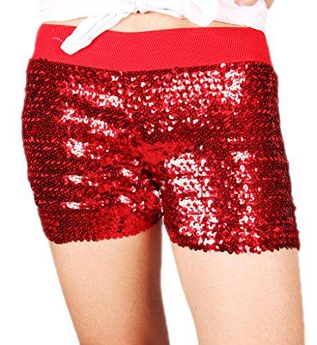 Alivila.Y Fashion Sexy Sequins Elastic Stretch Hot Pants Club Mini Shorts A12-Red -
