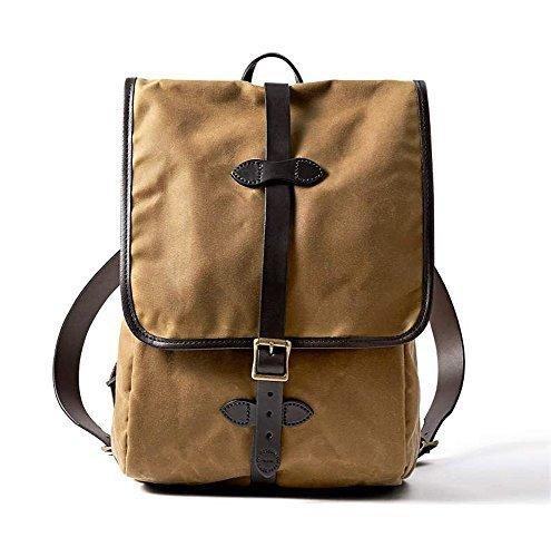 Filson Leather Bridle - Filson Tin Cloth Backpack, Dark Tan, One Size