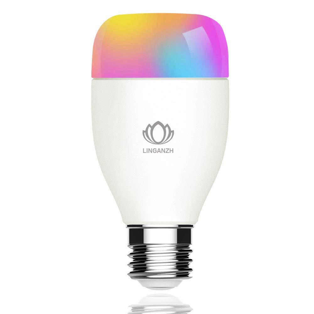 LINGANZH WiFi Smart Bulb, LED RGB Color Changing Smart LED Light Bulb, Dimmable Night Light, No Hub Required - Remotely Control - Timing Function, Work with Alexa and Google Home, E27 6W 1pack