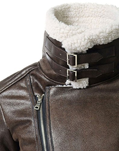 Jacket Biker Suede Leather Zipper Oblique Sherpa Brown Lined Men's Winter Chouyatou xUnwq81zaz