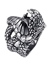 Konov Jewelry Vintage Stainless Steel Snake Gothic Biker Mens Ring, Black Silver, with Gift Bag, C22500