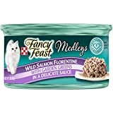 Purina Fancy Feast Wet Cat Food, Elegant Medleys, Wild Salmon with Garden Greens in a Delicate Sauce, 3-Ounce Can, Pack of 24