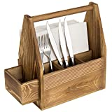 MyGift Rustic Burnt Brown Wood Dining Utensils and