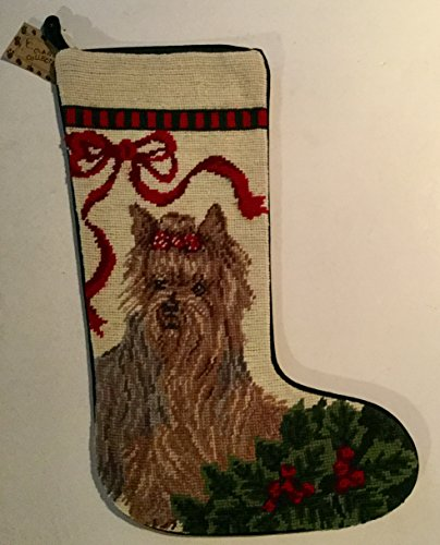 Yorkshire Terrier Yorkie Dog Large Needlepoint Christmas Stocking 16 inch