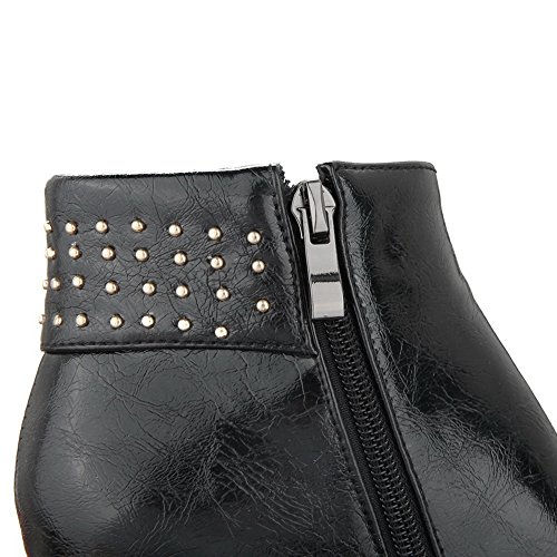 Womens Boots Rivet Leather Black Round Toe Bottom Skidding Anti Imitated AdeeSu d7qzwId